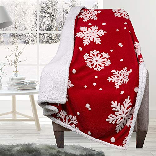 Malinad Christmas Blanket Sherpa Throw - 50x60 Red Snowflake - Soft, Cozy, Warm - Perfect for Holiday Clearance - Winter Decorations for Home