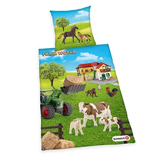 Herding SCHLEICH Set di Biancheria da Letto Reversibile, Farm World, Copripiumino 135 x 200 cm, Federa 80 x 80 cm, Cotone/Renforcé