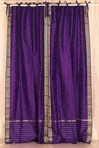 Indian Selections Lined-Purple Tie Top Sheer Sari Curtain/Drape/Panel - 43W x 84L - Pair