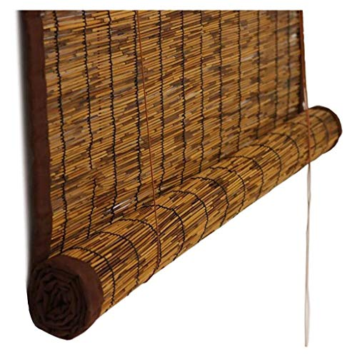 Bambú Ciego Rodillo Regulable Naturaleza Junco Cortina Enrollar Sombrilla, Tamaños Personalizados por Ventana/Puerta/Patio (Color : A, Size : 130x350cm/51x138in)