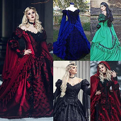 B/H Renacentista Disfraz Medieval para Mujer Vestido,Vestido de Corte Medieval, Vestido de Encaje en la Cintura-Red_M,Fiesta Navidad Carnaval Vestido Vintage