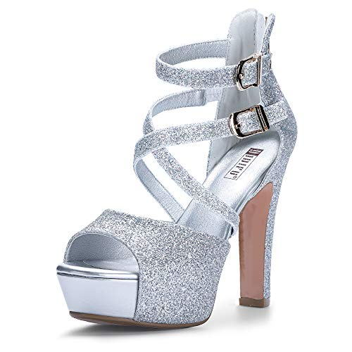 IDIFU Women's IN5 Charcy Crisscross Strappy Platform High Chunky Heels Peep Toe Pump Party Heeled Sandals(95 M US, Silver Glitter)