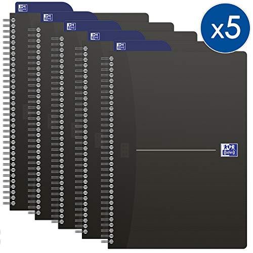 OXFORD 100102565 Spiralbuch Essentials 5er Pack A5 kariert 90 Blatt mit Lesezeichen-Lineal Schreibblock Notizblock