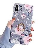 Karomenic Silikon Hülle kompatibel mit iPhone X/XS 5.8' Ultradünn Schutzhülle Blumen Blatt Muster Weiche TPU Handyhülle mit Ring 360 Grad Ständer Stoßfest Bumper Case Cover Tasche Schale,#1