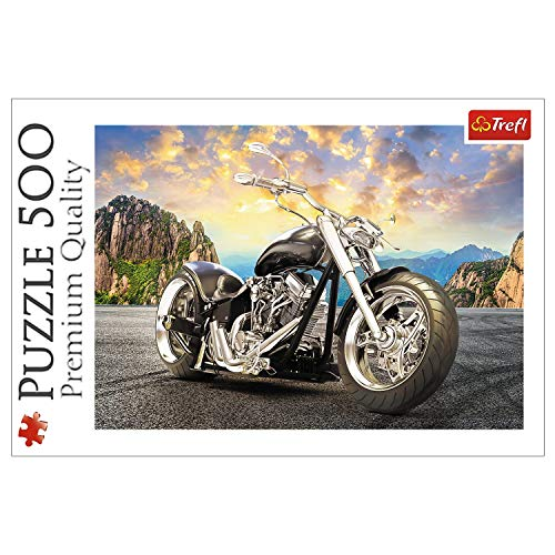 Trefl, Puzzle, Schwarzes Motorrad, 500 Teile, Premium Quality, für Erwachsene und Kinder ab 10 Jahren