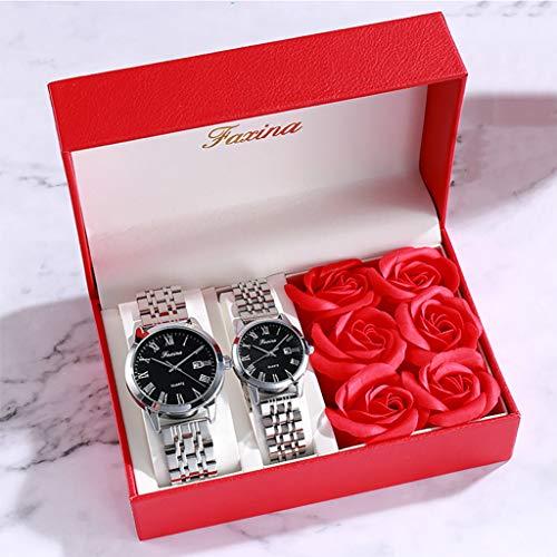 PIANAI Reloj de los Amantes/cinturón de Acero Impermeable Reloj de Cuarzo de Doble Calendario/Reloj Retro/un par de Reloj Femenino Simple Reloj Masculino,A