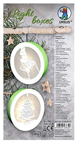 URSUS 21490001 - Light Boxes Gnome and Tree, Material für 2 beleuchtete, weihnachtliche Fensterbilder, filigrane Motive gelasert, Durchmesser je ca. 11 cm, inklusive LED Licht