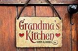 Targa in metallo divertente con scritta 'Grandma's Kitchen open 24 hours' Pension cucina idea regalo compleanno Natale per nonni nonna mamma nipote 18 x 12 cm