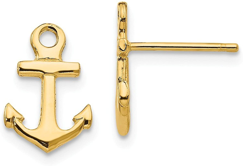 Beautiful Yellow gold 14K Yellowgold 14K Anchor Post Earrings