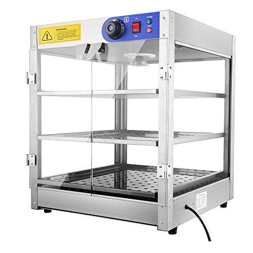Commercial 24x20x20' 3-Tier Countertop Food Pizza Pastry Warmer Display Case 750W 110V