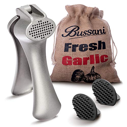Bussani Garlic Press Good Grips - Easy to Clean - No Need to Peel - Large Capacity- Comes with 2 Cleaning Tools in a Keeper Burlap Bag for Storage Fresh Garlic, Useful for Fresh Ginger Grater Crusher.