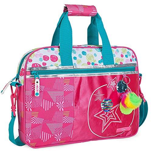 SKPAT - maletín Cartera extraescolar niña. Bandolera y 2 Asas. blocs libretas...
