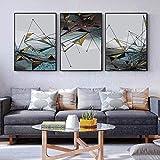 GYJDD Moderno Abstracto geométrico Pared Arte Lienzo Pintura nórdica Carteles Dorados e Impresiones Cuadros de Pared para la decoración Interior de la Sala de Estar 40x60cmx3 sin Marco