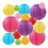 GUOXIANG 16 farolillos de papel, multicolor, tamaño redondo, papel chino, para colgar, decoración de cumpleaños, decoración del hogar, fiestas, bodas