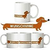 Partycards Personalisierte Tassen als Geschenkidee mit verschiedenen Motiven - Kaffebecher (Dackel + Wunschname, 300ml)