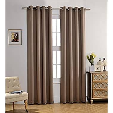 MYSKY HOME Solid Grommet top Thermal Insulated Window Blackout Curtains for Living Room, 52 x 84 inch, Taupe, 1 Panel