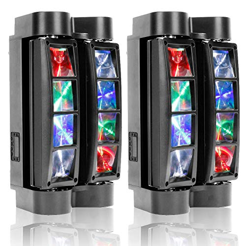 U`King Spider Moving Head Lights 8x10W LEDs Beam DJ Lights RGBW Sound Activated and DMX-512 Control for Party Pub Festival Disco Show Wedding Event Stage Lighting - 2 Packs