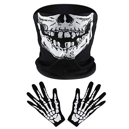 2 Set Weiß Skelett Handschuhe und Schädel Gesichtsmaske Half Ghost Knochen für Erwachsene Halloween Tanzen Kostüm Party (1 Set)