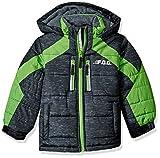 LONDON FOG Boys' Big Active Puffer Jacket Winter Coat, Real Black, 10/12