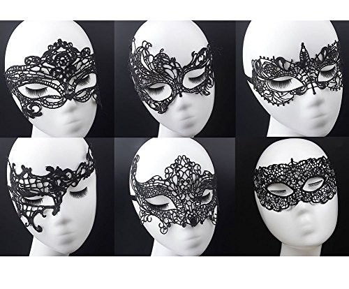 Womens Black Lace Mask Party Ball Masquerade Fancy Dress Masks Pack of 6