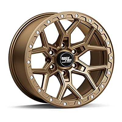 """RockTrix RT107 17 inch Wheel Compatible with Toyota Tacoma 6x5.5"""" Bolt Pattern, 17x9 (-12mm Offset), 106.1mm Bore, Matte Bronze, Also fits 90-19 4Runner, FJ Cruiser, 99-06 Tundra - 1pc"""