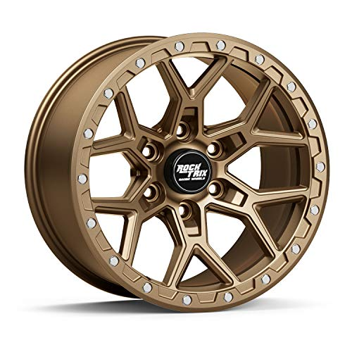 """RockTrix RT107 17 inch Wheel Compatible with 01-20 Toyota Tacoma 6x5.5"""" (6x139.7) Bolt Pattern, 17x9 (-12mm Offset), 106.1mm Bore, Matte Bronze, Also fits 02-20 4Runner, FJ Cruiser, 99-06 Tundra - 1pc"""