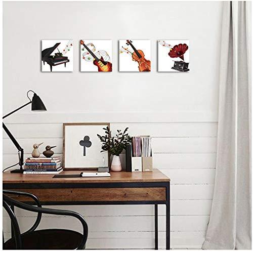 Kerstmotief grappige muziek muur kunst gramophone elektrische gitaar piano viool muziekinstrument schilderij afdrukken 40 x 40 x 4 cm zonder lijst