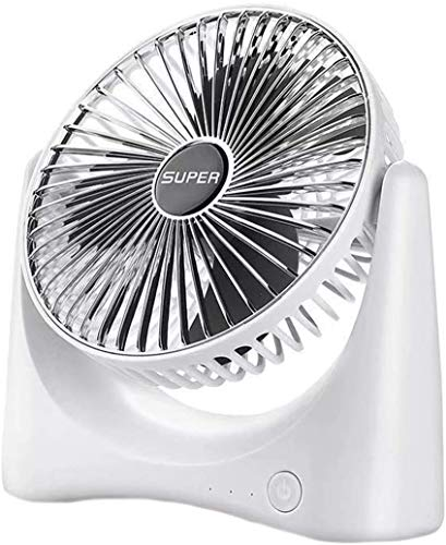 Portátil Simple Style Mini Electric Fan Office Hogar Dormitorio Dormitorio Desktop Fan eléctrico Ventilador de circulación de Aire Recargable USB (Plata) LJMYQL