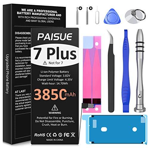 Batería para iPhone 7 Plus, 3850 mAh, batería de repuesto de alta capacidad, batería de iones de litio de ciclo 0 para 7 Plus A1661, A1784 y A1785, con kit de herramientas de reparación.