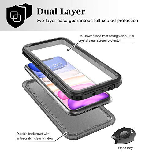 SPORTLINK Waterproof Case for iPhone 11, Full Body Heavy Duty Protection Full Sealed Cover Shockproof Dustproof Built-in Clear Screen Protector Rugged Case for iPhone 11 6.1 Inch