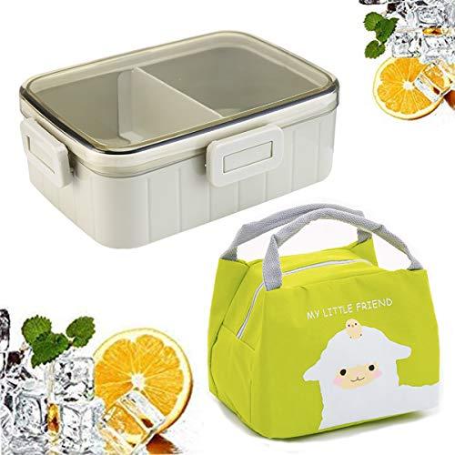 Kids Bento Box, Jicyor Porta Pranzo da Ufficio Plastica Scatola per Il Pranzo a Ermetico 2 Scomparti Lunch Box con Borsa Termica per Bambini Adulti Microonde Frigo Lavastoviglie (verde)