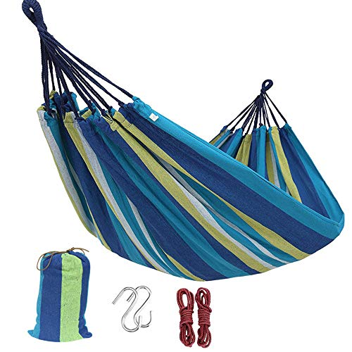 DSTong Single/Double Outdoor Garden Camping Hammock,1/2 Person Hammock Cotton Soft Swing Sleeping Portable with Carrying Bag for Patio Yard Garden Backyard Porch Travel (Single/260 * 80/BLUE)