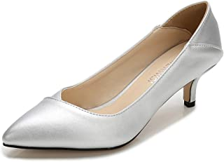 MAIERNISIJESSI Women's Classic Slip On Pointed Toe Kitten Heel Dress Pumps Shoes
