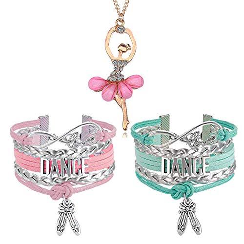 YouU 3 Pièces Bracelet Danseuse étoile Rose. Love. Love Infini, Bracelet en Cuir et Collier (Rose)