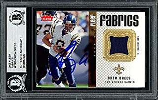 Drew Brees Autographed Memorabilia 2006 Fleer Fabrics Jersey Card #Ff -Db San Diego Chargers - Beckett Authentic