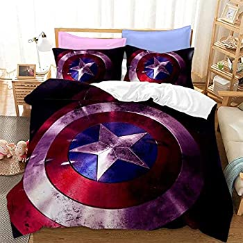 Haonsy Captain America Bedding Sets Queen Size for Boys Bed Set 3 Pieces  1 Duvet Cover 2 Pillowshams