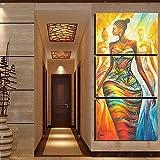 N / A Rahmenlose Malerei Wohnzimmerdekoration Leinwandmalerei 3 Stück abstrakte afrikanische Frau modulare Wandkunst Poster modernen DruckCJX1330 50X70cmx3