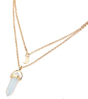 Women Necklace Gillberry Women Multilayer Irregular Crystal Gold Pendant Chain Statement Necklace