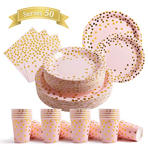 200Pcs Pink Disposable Paper Plates Cups Napkins Set - Party Supplies, Gold Dots on Pink 50 Dinner Plates 50 Dessert Plates, 50 Napkins and 50 9 oz Cups for Baby Shower Birthday Parties