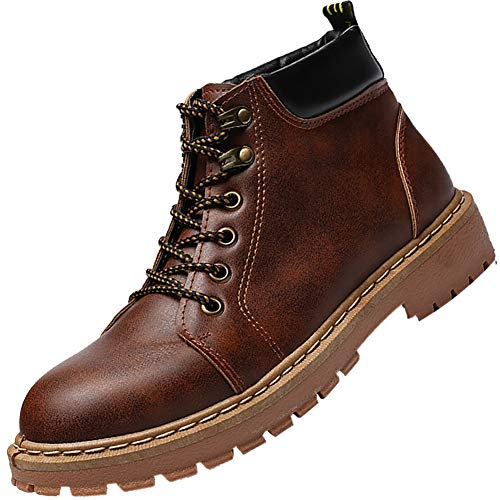 KUIBU Mens Lace up Anti-Slip Work Boots Hiking Military Combat Outdoor Martin Booties Motorcycle Shoes