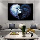 Douwert Cabeza de León Blanco y Negro para Escuchar Carteles e Impresiones Lienzo Pintura Animales imágenes para Sala de Estar decoración del hogar sin Marco 40x50cm
