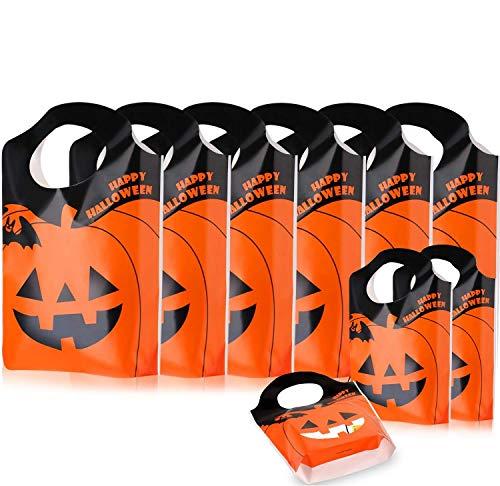astor 50 bolsas de plástico para Halloween Tot bolsas de caramelos para trucos o golosinas, bolsas de calabaza, bolsas de botín para Halloween