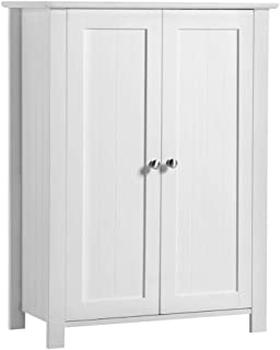 Yaheetech Free-Standing Bathroom Cabinet Wood Side Cabinet Storage Organizer with Adjustable Shelves and Double Doors, 23.6in Lx11.8in Wx31.5in H, White