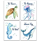 """Lovely Inspirational Words Texture of Dreams Watercolor Sea marine life Art Print Set of 4 (8""""X10""""), Sea Turtle Seahorse fish whale Jellyfish Wall Poster, Blue Ocean Theme Nursery Kids Room Wall Decor"""