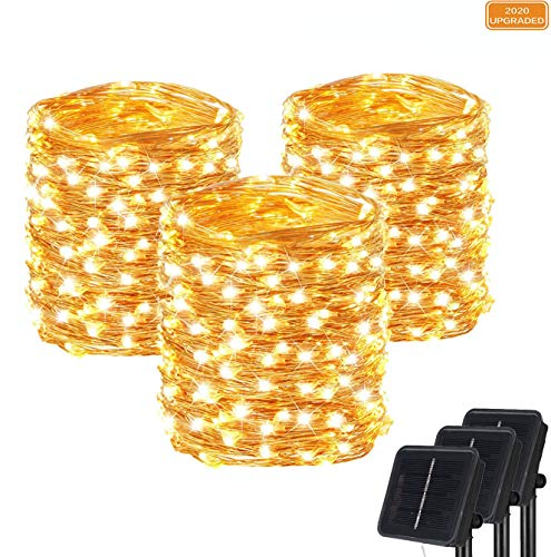 SZWISEKO Solar Fairy Lights,100 LED Solar String Lights with 8 Modes Outdoor Waterproof Decorative for Christmas, Garden, Yard, Party, Camping, Patio (33Ft, 3 Packs)