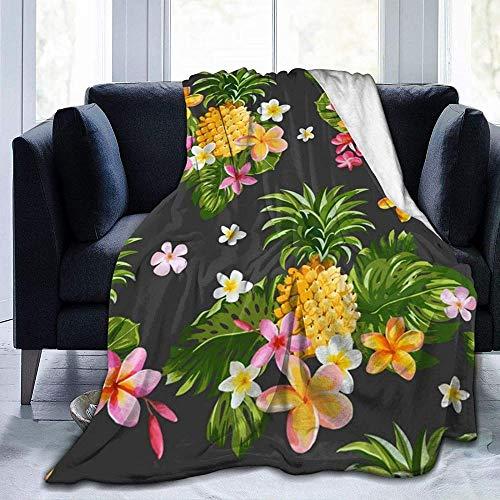 DWgatan Couverture,Couvre-lit de canapé Polyvalent Doux et Chaud de qualité Tropical Pineapple Hawaiian Printed Blanket for Bedroom Living Room Couch Bed Sofa -80\