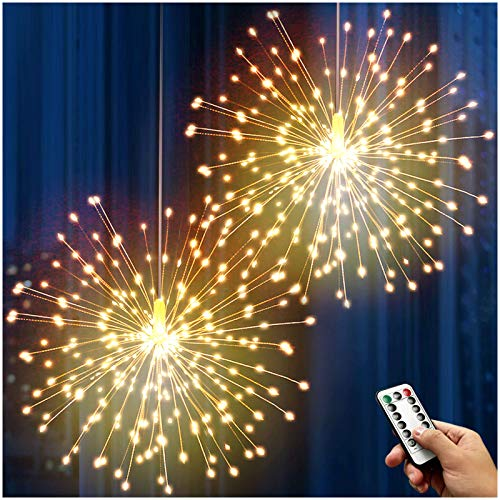 DenicMic Firework Lights 200 LED Copper Wire Starburst Light, 8 Modes Battery Operated Fairy Star Sphere Lights with Remote, Warm White Hanging Ceiling Decorations for Bedroom, Christmas, Party 2 Pack