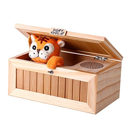 KOBWA Cartoon Tiger Kreative Massivholz nutzlose Box Praktische Witze Lustige Spielzeug für Freunde und Kinder,Holz Kinder Spielzeug, Witz Heilmittel Geschenk für Kinder