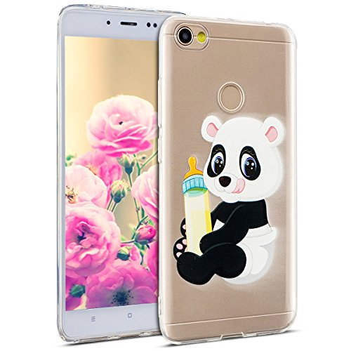 Uposao Kompatibel mit Hülle Xiaomi Redmi Note 5A Silikon Handyhüllen Bunt Muster Transparent TPU Silikon Handyhülle Durchsichtige Schutzhülle TPU Weich Tasche,Panda
