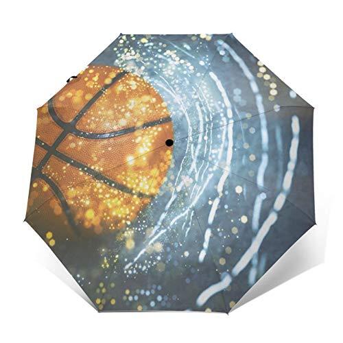 Paraguas automático triple plegable de baloncesto con Galaxy Light impermeable protector solar resistente al viento y resistente al viento plegable paraguas para hombre y mujer al aire libre